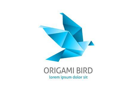 3d dove: origami flying bird logo - blue icon isolated on white background