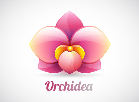 gynaecology: flower logo - pink orchid flower shape illustration - vector icon isolated on white background