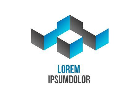 logo batiment: logo d'entreprise de conception abstraite en forme géométrique 3d - vecteur icône