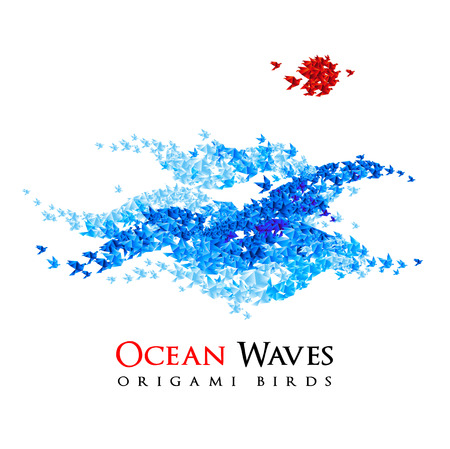 shaped: summer background - origami ocean waves shaped from flying paper birds - vector