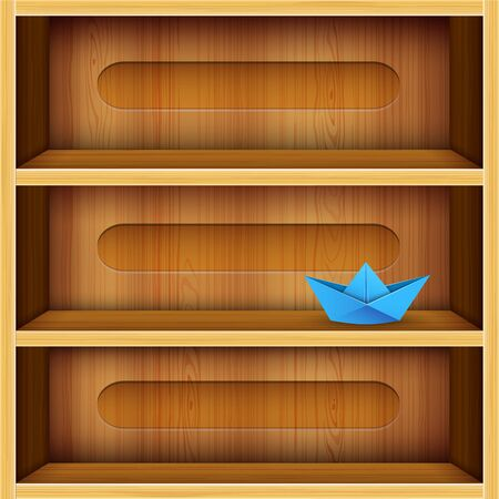 office product: wooden shelves vector illustration - wood texture Illustration