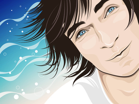 black hair blue eyes: smiling man portrait chilling near the sea - vector illustration