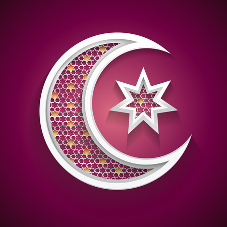 hari raya: islamic background with a new moon and star vector Illustration