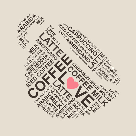 cofee cup: coffee typiography - cofee cup shape from type - typographic composition - letters
