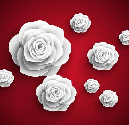rendering: vector paper flowers roses abstract background