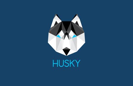 sledge dog: husky dog head illustration - great sign for outdoor adventures design
