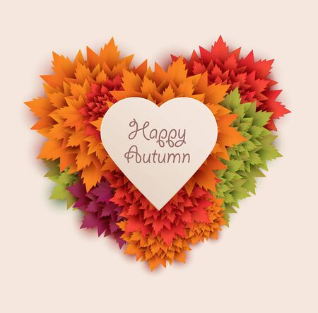 autumn leaves background: heart shaped autumn leaves colorful background