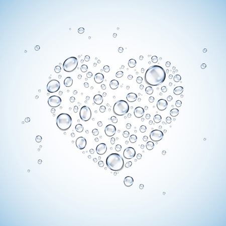 h20: water drops heart shape blue background