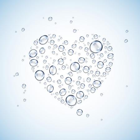 Wassertropfen Herzform blauem Hintergrund