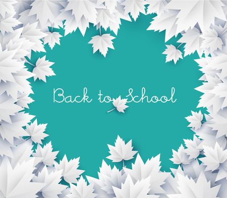 green chalkboard: Back to school background - green chalkboard with paper leaves