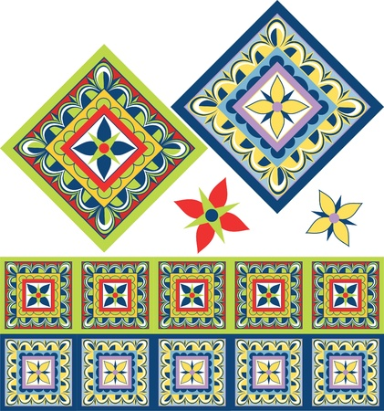 Mexican floral tile in the Talavera style with new trendy colors.  Vector