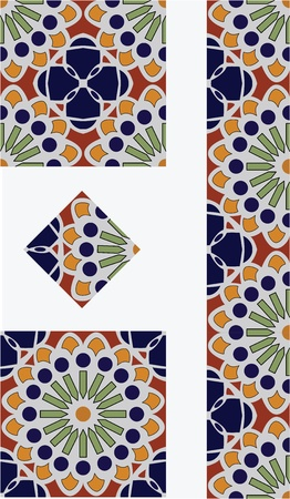 Mexican Flower Talavera Style Tile Vector Design
