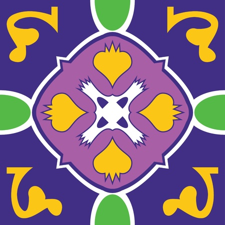 A purple and gold talavera inspired mexican tile that will tile seamlessly into your design. Illustration