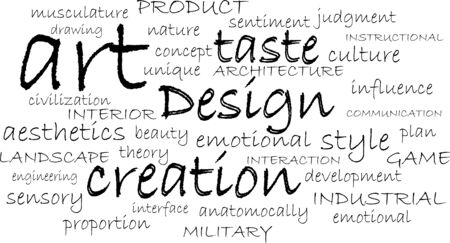 word cloud of design items Vector