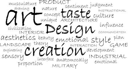 word cloud of design items