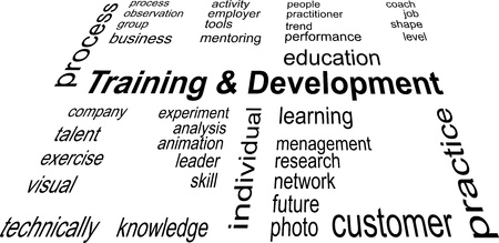 word cloud of training and development items
