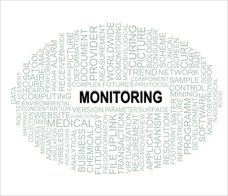 wordwide: a word cloud of monitoring related items Illustration