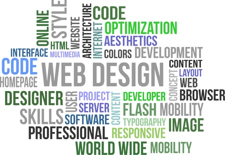 A word cloud of web design related item