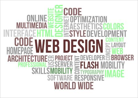 A word cloud of Web Design related items Vector