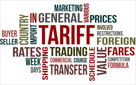 A word cloud of tariff related items