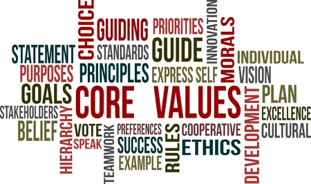 A word cloud of core value related items Illustration