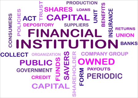 credit union: A word cloud of financial institution related items Illustration