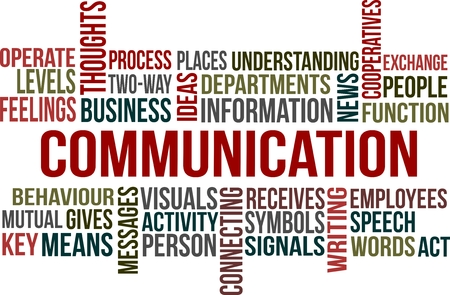 A word cloud of Communication related item