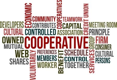 cooperativa: Una nube de palabras del tema de cooperaci�n relacionadas Vectores