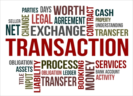 A word cloud of transaction related items Illustration