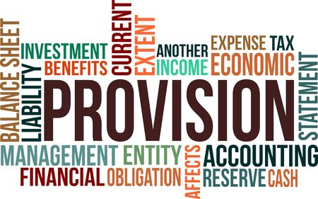 balance sheet: A word cloud of Provision related item Illustration
