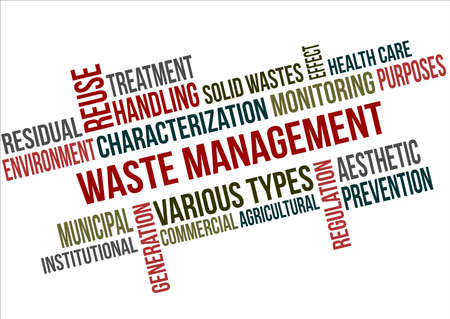 A word cloud of Waste management related items Illustration