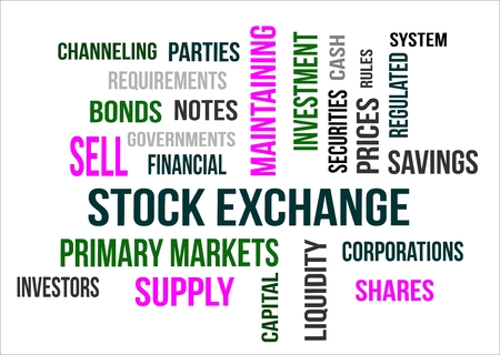 A word cloud of Stock Exchange related items