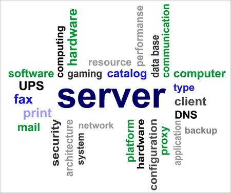 A word cloud of Server related items Illustration