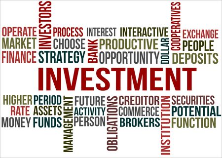 A word cloud of Investment related items Illustration