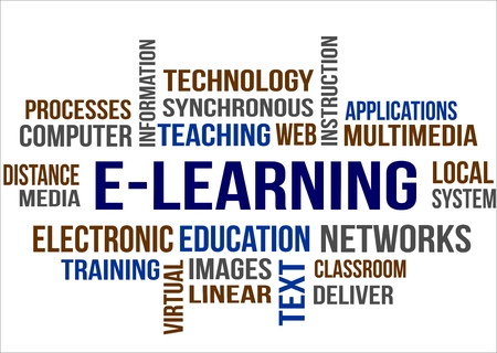 A word cloud of E-learning related item Illustration