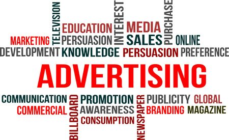 A word cloud of Advertising related item