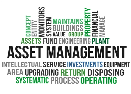 A word cloud of Asset management related items Illustration