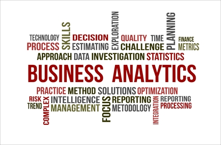 A word cloud of Business analytics related items