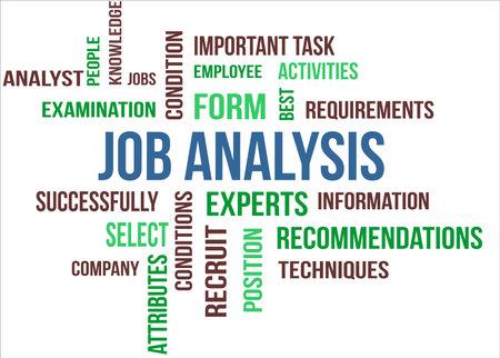 Een woordwolk van Job analyse gerelateerde items Stock Illustratie