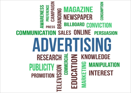 A word cloud of Advertising  related items