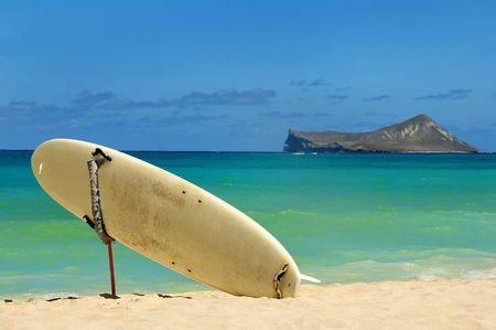 surfboard on the beach Stock Photo