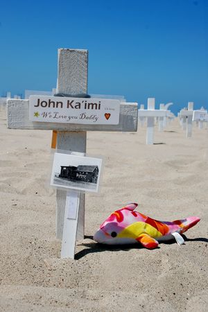 Santa Monica Beach, California, May 2, 2010: crosses at Arlington West by Veterans for Peace