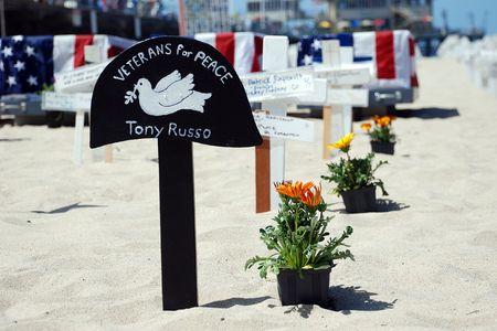 Santa Monica, California, May 3, 2010: crosses at Arlington West by Veterans for Peace Monica