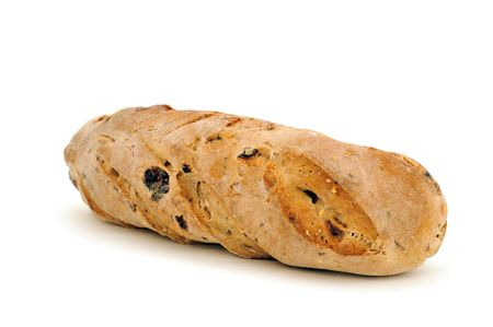 baguette with raisins on white background Stock Photo
