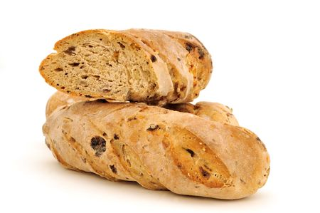baguettes with raisins on white background