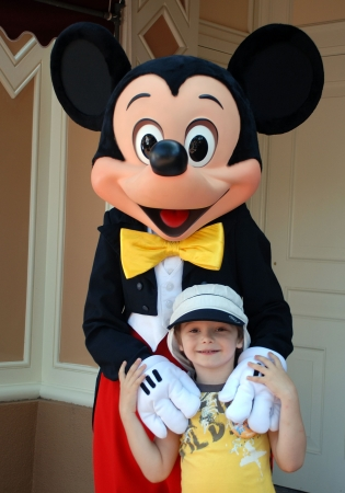 Disneyland, California, May,2010, Mickey Mouse and boy