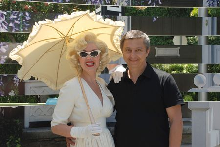 Marilyn Monroe photographed with a man in Universal Studios, Hollywood, May 2010,