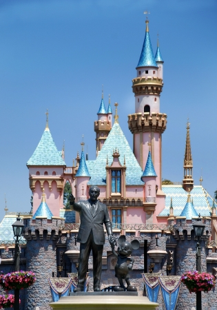 coaster: Disneyland, California, May, 2010, Monument to Walt Disney and Mickey Mouse Editorial