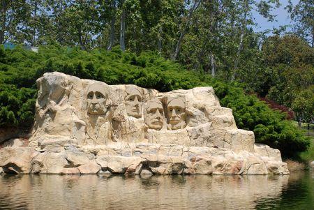 Mount Rushmore National Memorial made of Lego in Legoland, San Diego.California Editorial