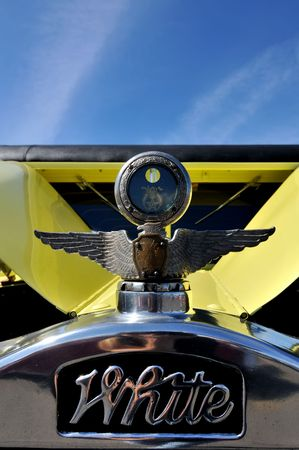 Auto icon in the form of an eagle on the hood of a retro yellow car